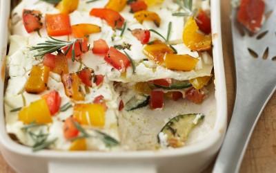 Lasagne di verdure con formaggio di capra