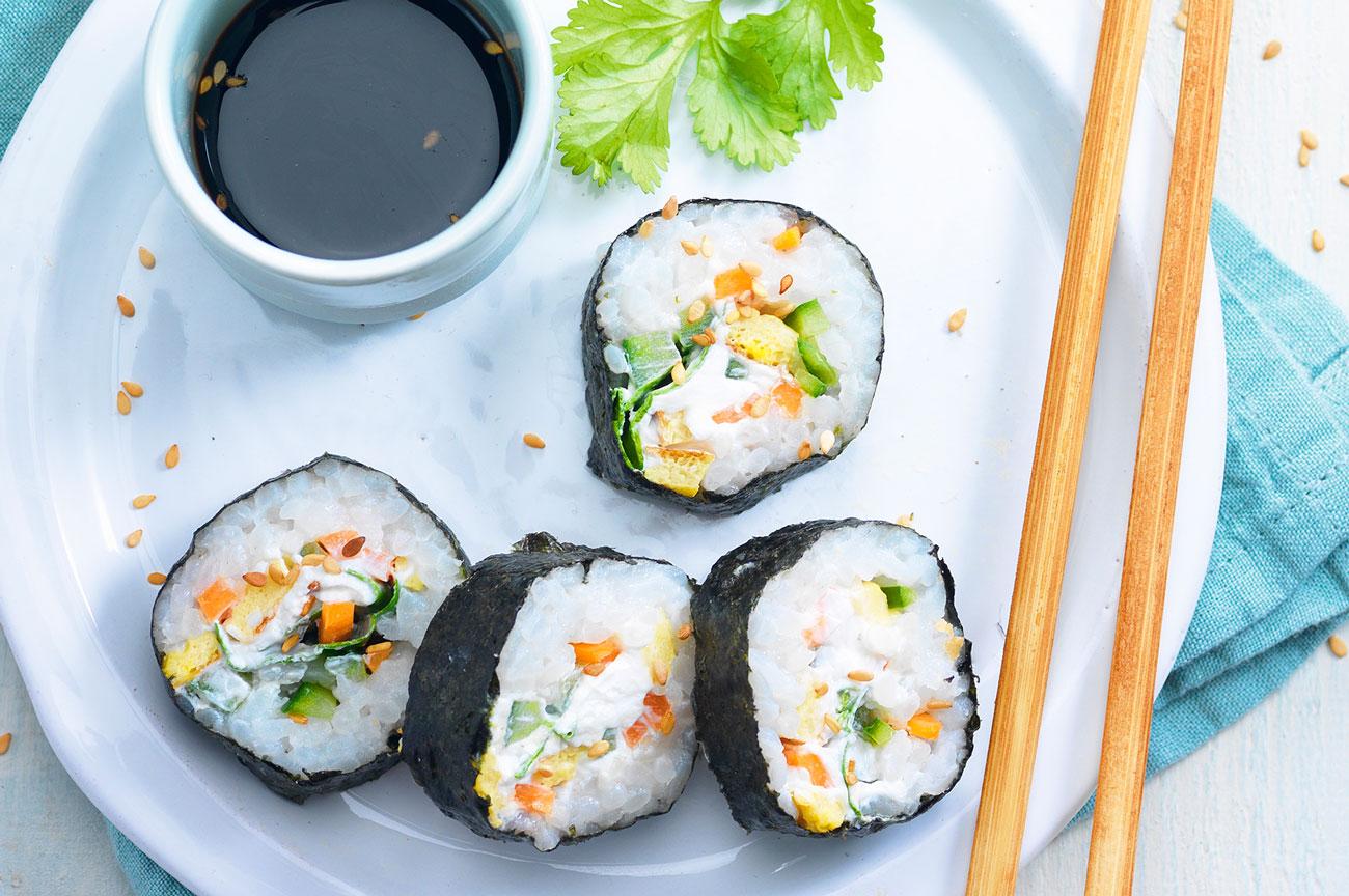 sushi con formaggio di capra