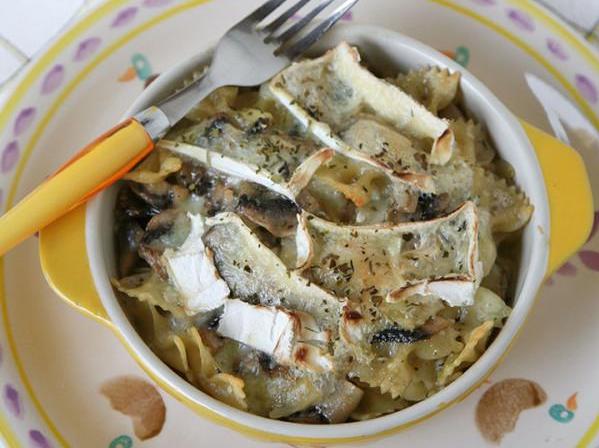farfalle-gratinate-funghi-champignon-formaggio-camoscio-doro
